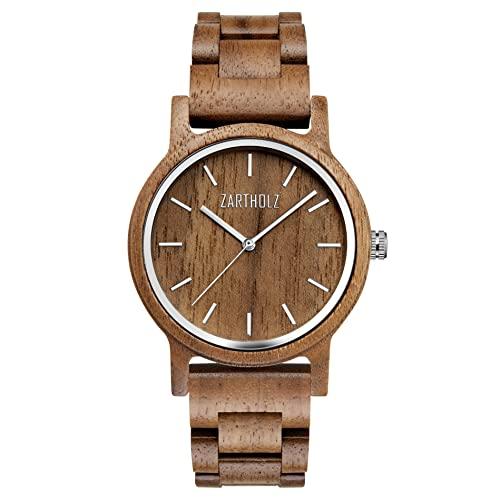 ZARTHOLZ Herren Damen Holz-Armbanduhr Walnussholz