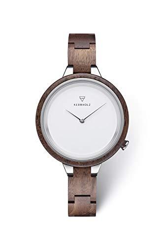 KERBHOLZ Holzuhr – Classics Collection Hinze analoge Quarz Uhr für Damen, Gehäuse und verstellbares Armband aus massivem Naturholz, Ø 38mm, Walnuss Silber Weiß