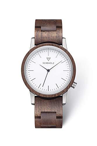 KERBHOLZ Holzuhr – Classics Collection Wilma analoge Quarz Uhr für Damen, Gehäuse und verstellbares Armband aus massivem Naturholz, Ø 36mm, Walnuss Weiß