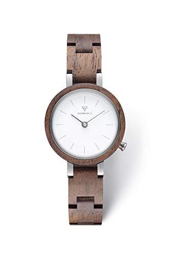 KERBHOLZ Holzuhr – Classics Collection Matilda analoge Quarz Uhr für Damen, Gehäuse und verstellbares Armband aus massivem Naturholz, Ø 27mm, Walnuss Weiß