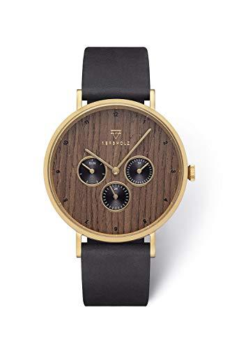 KERBHOLZ Holzuhr Uhr – Elements Collection Caspar analoger Herren Chronograph, Naturholz Ziffernblatt, echtes Lederarmband, Ø 42mm, Walnuss Schwarz Gold