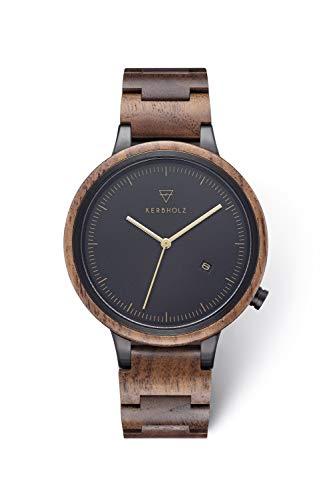 KERBHOLZ Holzuhr – Classics Collection Lamprecht analoge Quarz Uhr für Herren Gehäuse und verstellbares Armband aus massivem Naturholz, Ø 42mm, Walnuss Gold