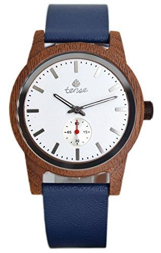 TENSE Holzuhr Herren Katalox | weißes Ø 40 mm Armbanduhr Hampton analog Quarz B4701R-W
