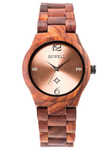 Alienwork Damen-Armbanduhr Quarz rot mit Holz-Armband Rose-Gold Holzuhr Natur-Holz