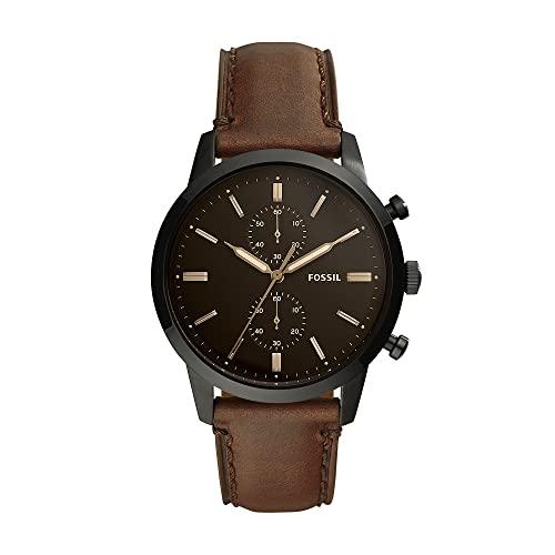 Fossil Herren Chronograph Quarz Uhr mit Leder Armband FS5437