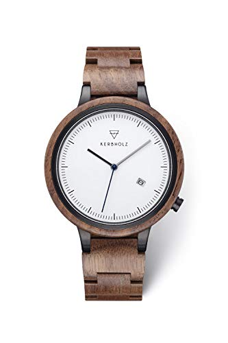 KERBHOLZ Holzuhr – Classics Collection Lamprecht analoge Quarz Uhr für Herren Gehäuse und verstellbares Armband aus massivem Naturholz, Ø 42mm, Walnuss Schwarz