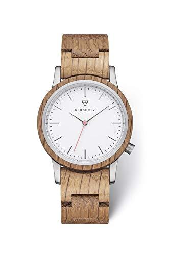 KERBHOLZ Holzuhr – Classics Collection Wilma analoge Quarz Uhr für Damen, Gehäuse und verstellbares Armband aus massivem Naturholz, Ø 36mm, Eiche Weiß
