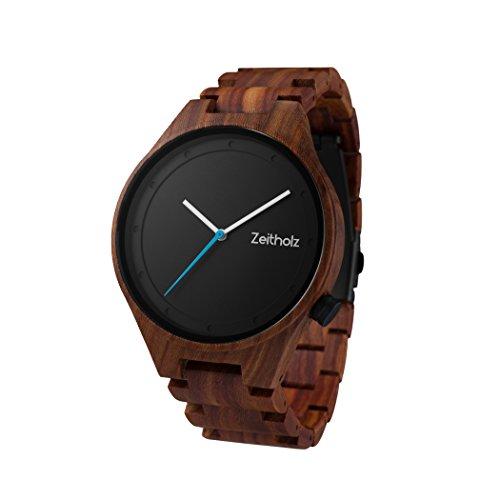 Zeitholz Herren-Holzuhr Analog mit Sandelholz-Armband - Modell Stolpen - Schwarz - Naturprodukt - Hypoallergen - Nachhaltig Handgefertigt Armbanduhren