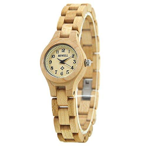 BEWELL Handgemachte Natürliche Hölzerne Uhren Für Damen Mode Uhr Analog Quarzwerk Armbanduhr Casual Stil für Frauen mit Hölzerne Armband(Beige)