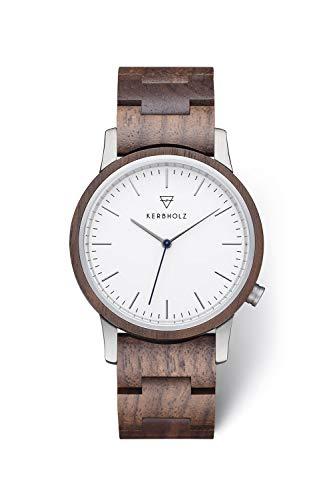 KERBHOLZ Holzuhr – Classics Collection Walter analoge Unisex Quarz Uhr, Gehäuse und verstellbares Armband aus massivem Naturholz, Ø 40mm, Walnuss Weiß