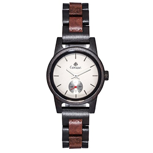 TENSE 'Hampton Leadwood' Damen Holzuhr Leadwood Ø 35 mm Armbanduhr aus Holz analog Quarz M4700DR-W