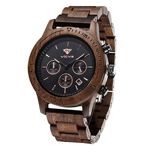 VICVS Herren Natur Hölzerne Uhr Multifunktionale Quartz Analog Armbanduhr mit Kalender Anzeige Chronograph-Funktion Hölzerne Armband für Männer (Walnut)