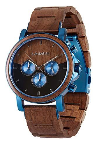 LAiMER Holzuhr - Herren Chronograph Armbanduhr IVO aus Nussholz - Analog, Stoppfunktion, 24H Anzeige, Leuchtzeiger, Ø 43mm - Zero Waste Verpackung aus Naturholz