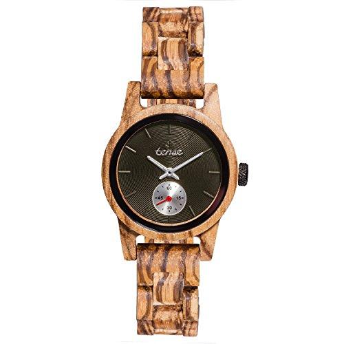 TENSE 'Hampton Zebranoholz' Damen Holzuhr Zebranoholz Ø 35 mm Armbanduhr aus Holz analog Quarz M4700Z-B