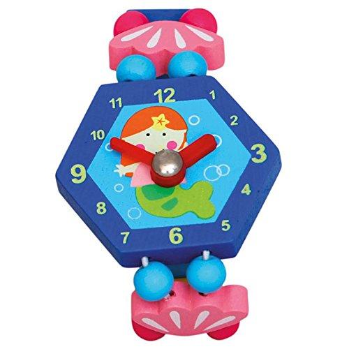Bino & Mertens 9086041 Holzuhr Fee, Spielzeuguhr für Kinder ab 3 Jahre, Kinderspielzeug (Erste Uhr ab 3 Jahre, multifunktionale Lehruhr für Vorschüler, bringt viel Spaß beim Lernen der Zeit, lustiges Design), Blau