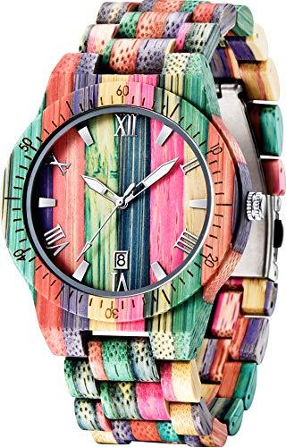 Herren Damen Holzuhr Herren Handgefertigte Bunte Bambus Holzuhr Analoge Quarz Armbanduhr