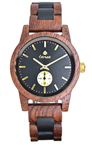 TENSE Holzuhr Herren Katalox Leadwood Ø 40 mm Armbanduhr Hampton analog Quarz B4700RD-BG