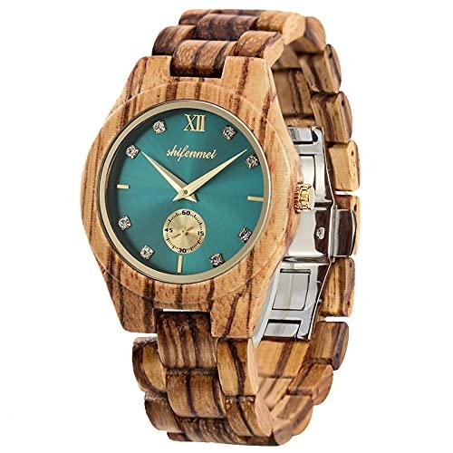 shifenmei Holzuhren für Damen, Holzuhren Japanisches Uhrwerk Leichte analoge Quarz Holzarmband Handmade Business Luxuriöse Frauen Holzuhren (Zebra Wood-Turquoise)