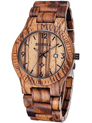Alienwork Armbanduhr Herren Damen braun Holz-Armband Kalender Datum Holzuhr Natur-Holz